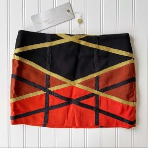ASOS Vero Moda Black Orange Gold Mini Dance Skirt